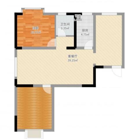 隆昊昊博园1室2厅1卫1厨91.00㎡户型图