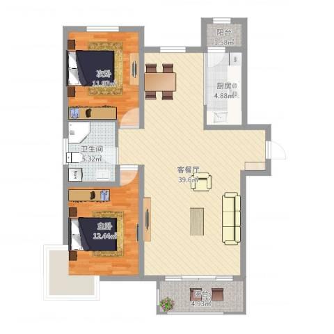 碧水庄园三期2室2厅1卫1厨101.00㎡户型图