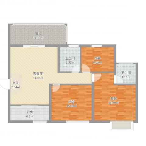 兴科明珠花园三期3室2厅2卫1厨127.00㎡户型图