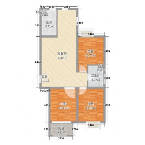 良城逸园3室2厅1卫1厨114.00㎡户型图