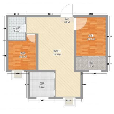 良城逸园2室2厅1卫1厨91.00㎡户型图