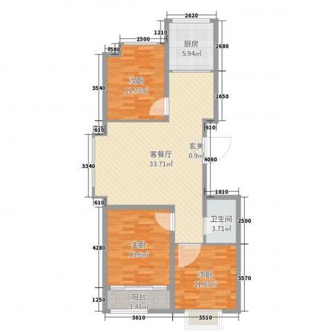 良城逸园3室2厅1卫1厨104.00㎡户型图