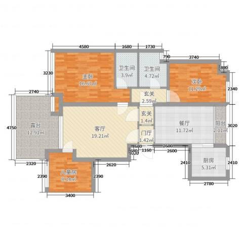 贝尚湾11号3室2厅2卫1厨127.00㎡户型图