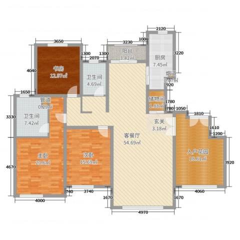 大华锦绣华城第19街区3室2厅2卫1厨185.00㎡户型图