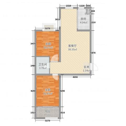 良城逸园2室2厅1卫1厨82.00㎡户型图