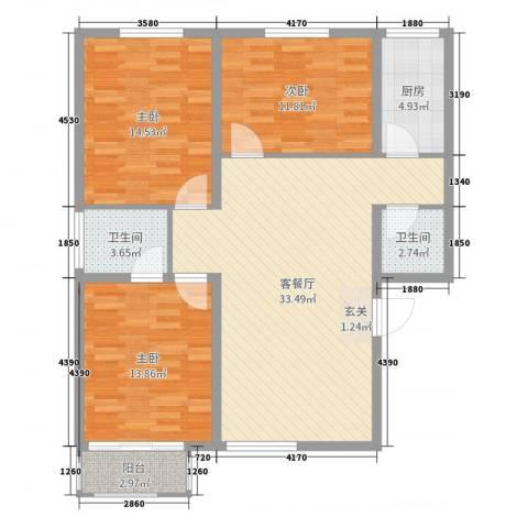 良城逸园3室2厅2卫1厨110.00㎡户型图