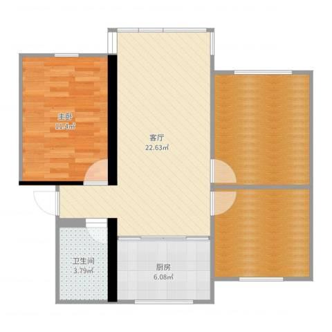 马浜花园南区1室1厅1卫1厨80.00㎡户型图
