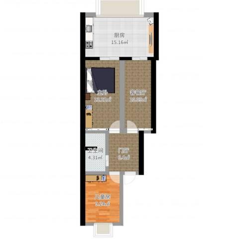 浦口西里2室2厅1卫1厨73.00㎡户型图