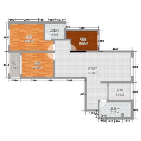 海棠花园3室2厅2卫1厨128.00㎡户型图
