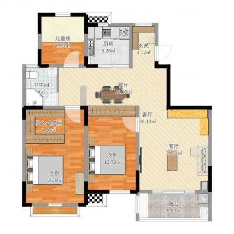 华建雅园1室1厅1卫1厨115.00㎡户型图