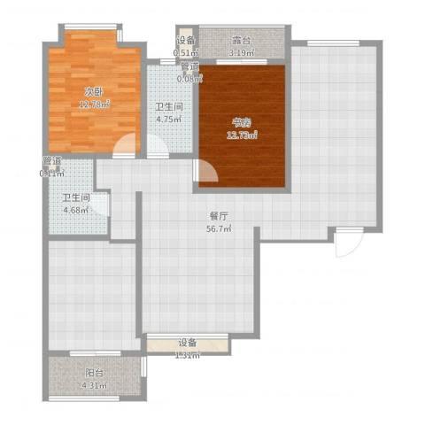 中环广场2室1厅2卫0厨126.00㎡户型图