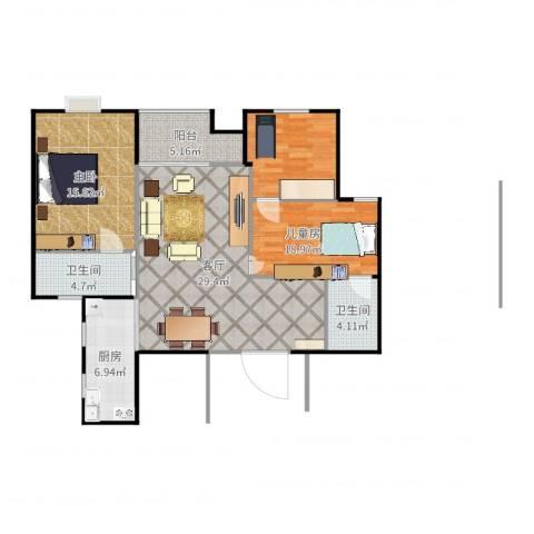 世家英伦2室1厅2卫1厨106.00㎡户型图