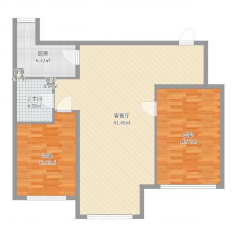 唐园新苑2室2厅1卫1厨101.00㎡户型图