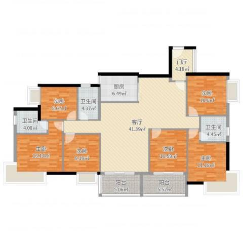 福泰花园6室1厅3卫1厨173.00㎡户型图