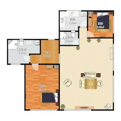 都会轩2-50052室1厅2卫1厨143.00㎡户型图