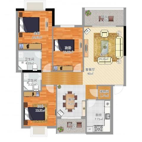 滨河苑3室2厅2卫1厨135.00㎡户型图