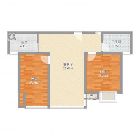 中瑾翰铂府2室2厅1卫1厨74.00㎡户型图