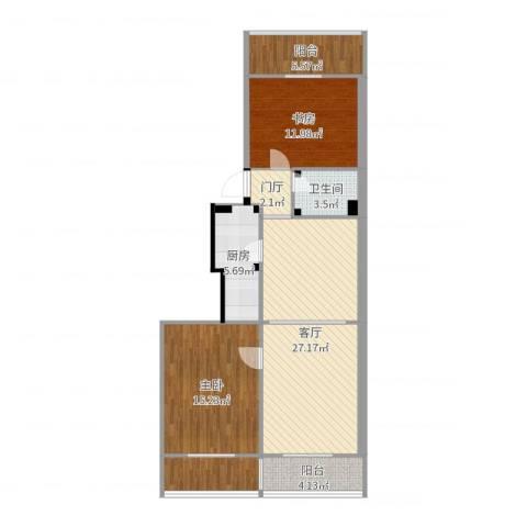 奥隆花园2室1厅1卫1厨99.00㎡户型图