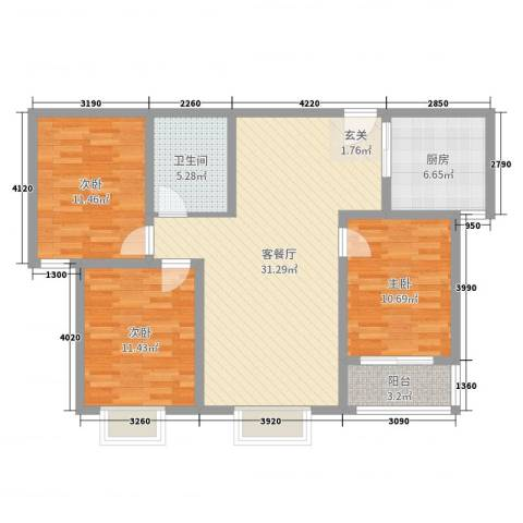都市绿城3室2厅1卫1厨99.00㎡户型图