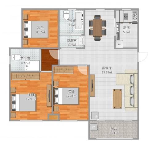 沁园春居3室4厅2卫1厨114.00㎡户型图