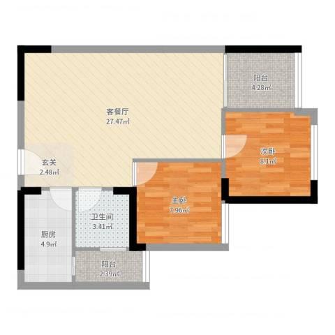 鑫阳公寓2室2厅1卫1厨73.00㎡户型图