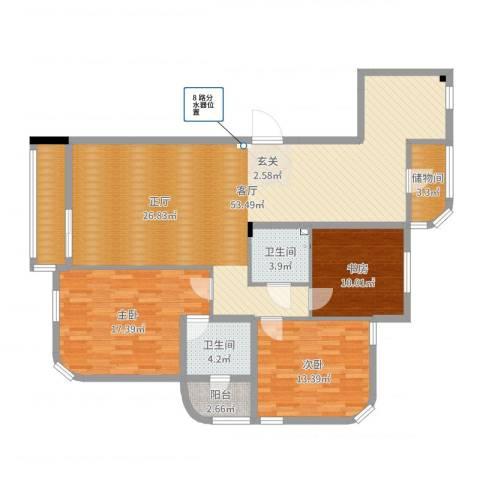 德泰岭秀逸城3室1厅2卫0厨141.00㎡户型图