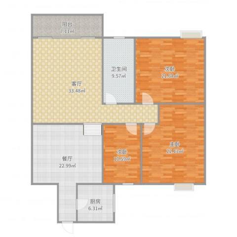 怡丰都市广场3室2厅1卫1厨167.00㎡户型图