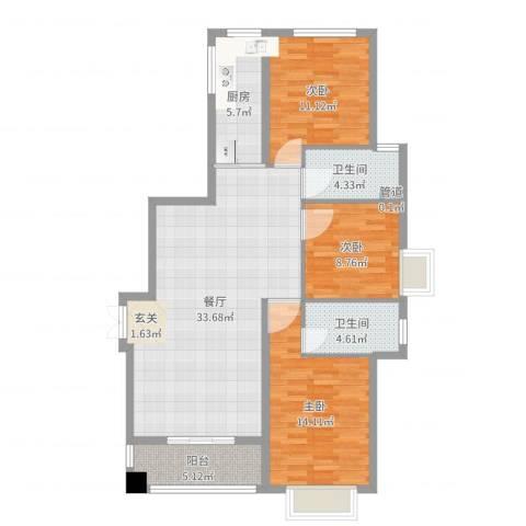 东方丽池3室1厅2卫1厨109.00㎡户型图