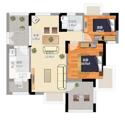 皓晖香雨蓝苑二期2室2厅1卫1厨76.00㎡户型图