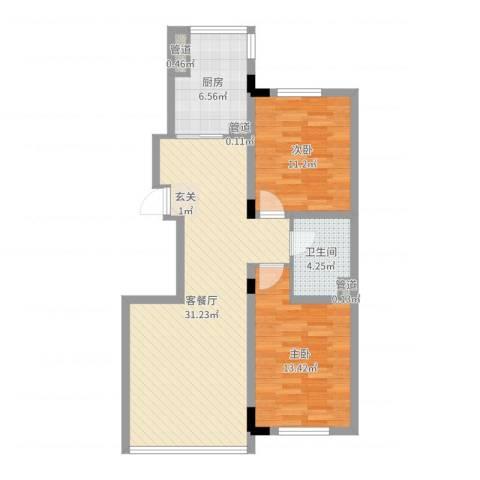 阳光丽景二期2室2厅1卫1厨84.00㎡户型图