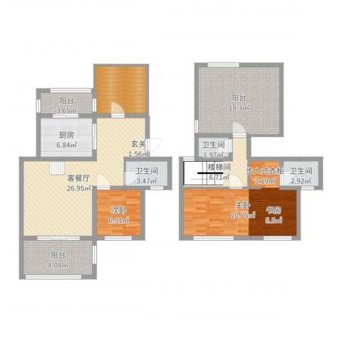 中南山海湾2室2厅3卫1厨143.00㎡户型图