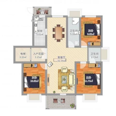 君悦国际花园3室2厅2卫1厨115.00㎡户型图