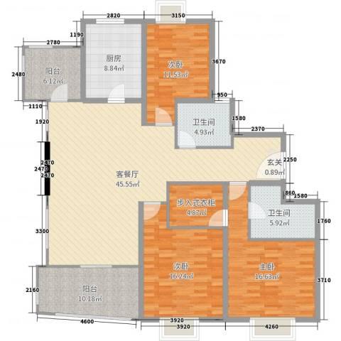邦兴佳苑3室2厅2卫1厨130.81㎡户型图