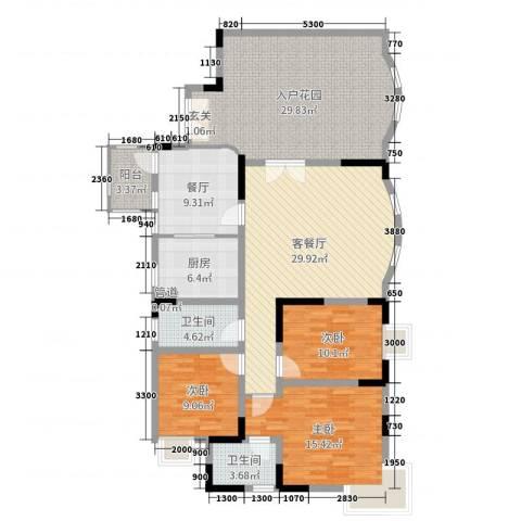 双龙西路小区3室3厅2卫1厨121.78㎡户型图