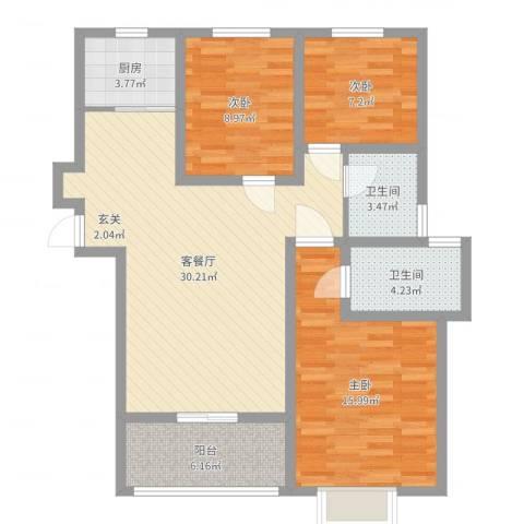 都市绿城3室2厅2卫1厨100.00㎡户型图