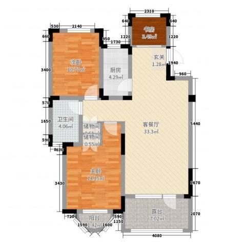 瑞士风情小镇3室2厅1卫1厨100.00㎡户型图