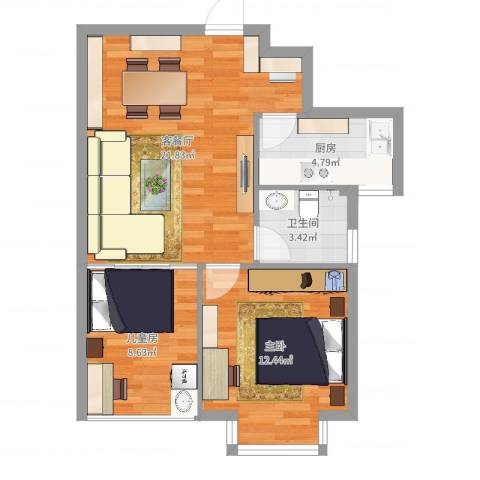 中建文化城2室2厅1卫1厨64.00㎡户型图