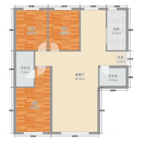 新华国际公寓E号3室2厅2卫1厨141.00㎡户型图