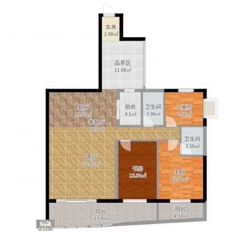 南湖中祥大厦3室2厅3卫1厨155.00㎡户型图