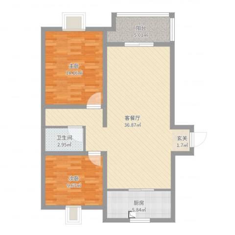 金猴北城名居2室2厅1卫1厨93.00㎡户型图