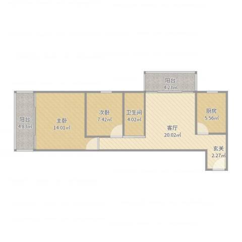 牛街西里-1712.2室1厅1卫1厨75.00㎡户型图