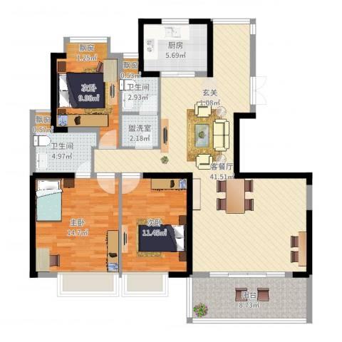 盛世华府3室4厅2卫1厨128.00㎡户型图