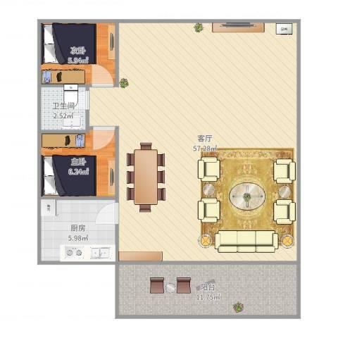 华辉花园2室1厅1卫1厨112.00㎡户型图