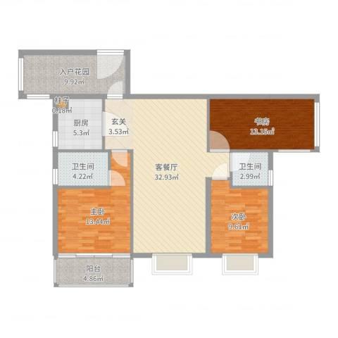 浅水湾・中央公园3室2厅2卫1厨121.00㎡户型图