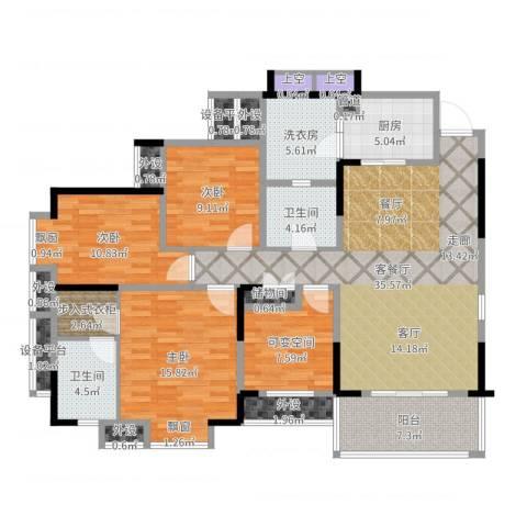 龙湖水晶郦城一组团3室2厅2卫1厨146.00㎡户型图