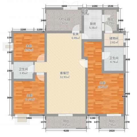 鲁能星城七街区3室2厅2卫1厨135.00㎡户型图