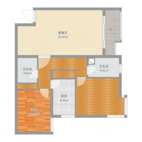 北苑家园莲葩园1室2厅2卫1厨106.00㎡户型图