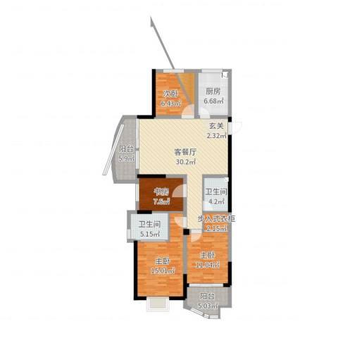 金汇国际4室2厅2卫1厨127.00㎡户型图