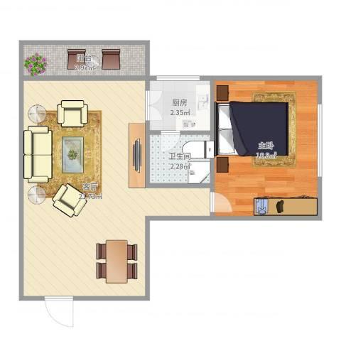 新兴白云花园10栋9梯01单位1室1厅1卫1厨50.00㎡户型图