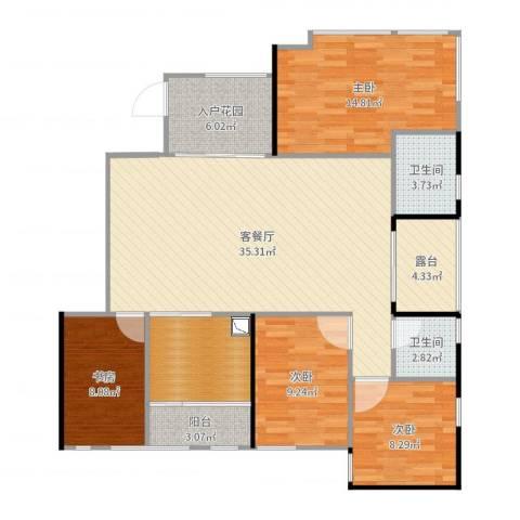 南方书苑湖畔4室2厅2卫0厨128.00㎡户型图